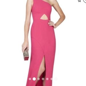 BCBGMAXAZRIA pink gown with cut out